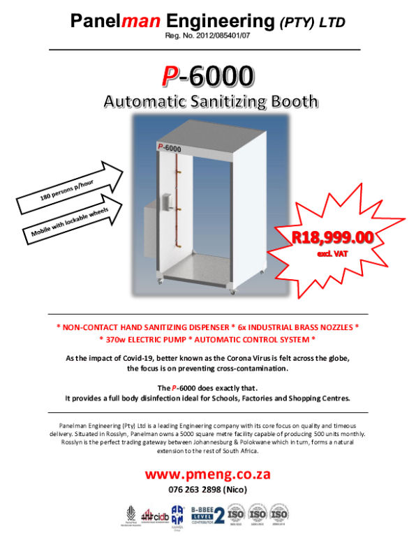 P-6000 Automatic Sanitising booth